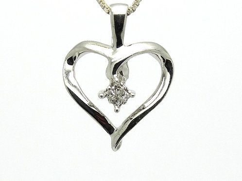 Petite 10kt White Gold Diamond Open Heart Pendant