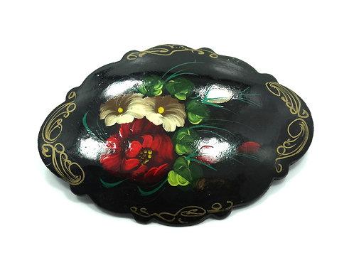 Vintage RUSSIAN Designer Signed hand-painted Rose Flower Wooden Brooch Pin