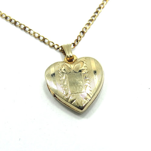 Baby Locket H.F.B. BARROWS 1/20 12k Gold Filled Heart Pendant Necklace