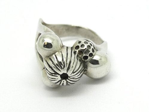 Modernist ERS Mushroom top 925 Silver Ring