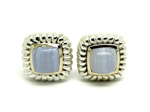 CNA Blue LACE AGATE 14k Gold & 925 Silver Earrings
