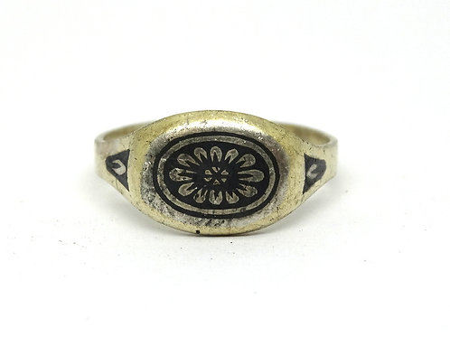 Antique SAC4 Russian NIELLO Enamel 875 Silver Ring