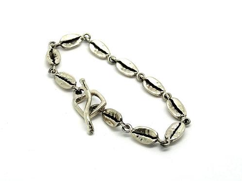Vintage Sterling Silver COFFEE BEAN Link Bracelet