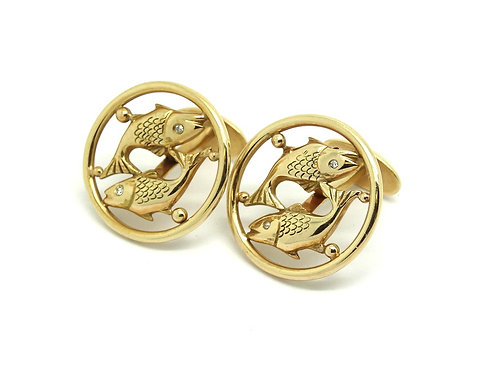 Vintage 14k Gold PISCES KOI Fish Diamond eyes Cufflinks