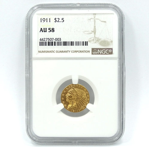 NGC AU58 1911 $2.50 GOLD 900 INDIAN Head Eagle Coin