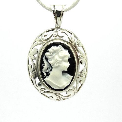 Jezlaine Black & White CAMEO Sterling Silver JEZ Pendant