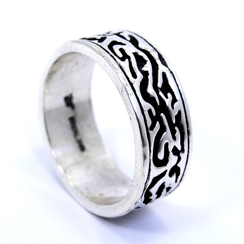 BELL TRADING POST Mens Vintage Carved Flame Sterling Silver 8.7mm Band Ring 10.5