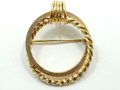 Vintage BREV. 444-VI 750 18K Yellow Gold Double Textured Circle Brooch Pin