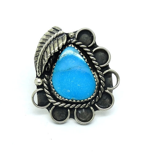 NAVAJO Trillion Turquoise Silver Feather Ring
