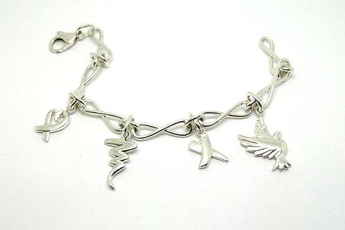 Rare T&CO Paloma Picasso KISS OPEN HEART SCRIBBLE DOVE Tiffany&Co Charm Bracelet