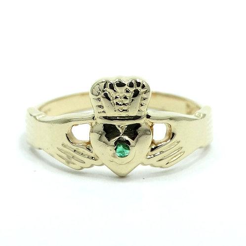 Vintage IRISH CLADDAGH {W/S} Green EMERALD 14k Gold Wedding Ring 5.75