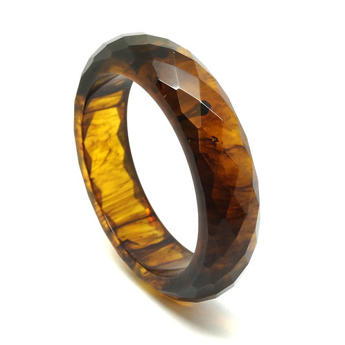 Rare Vintage Faceted Marbled LEOPARD Brown BAKELITE Plastic Bangle