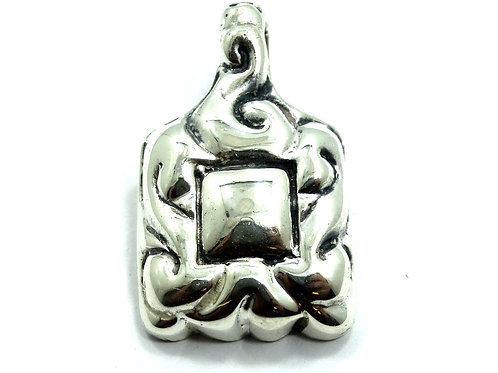 Vintage ZINA Puffy Abstract Sterling Silver 925 Filigree Scroll Enhancer Pendant