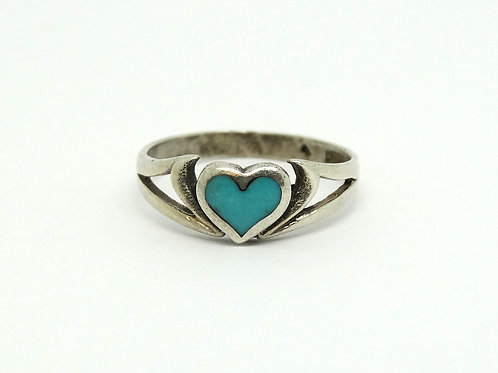 Petite Sterling Silver Turqouise Heart Ring S-5.5