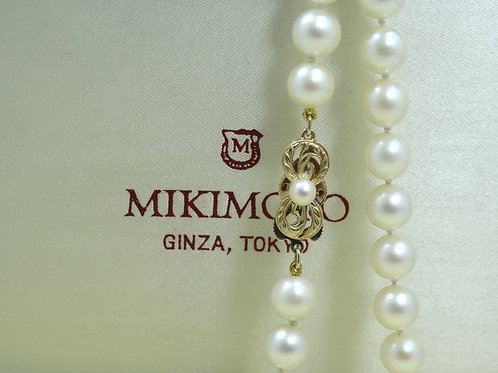 "MIKIMOTO 7.5 to 8 mm Culture AKOYA PEARL 14k Clasp 16"" Strand Necklace"