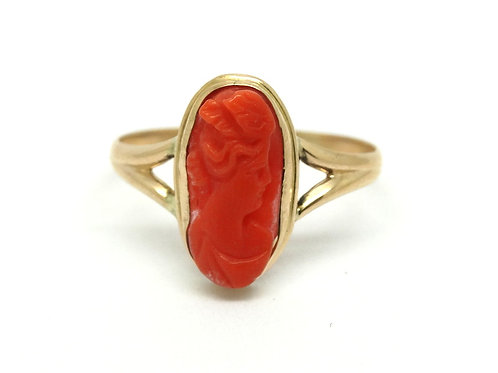 Antique Red Salmon CORAL CAMEO 14k Gold Ring