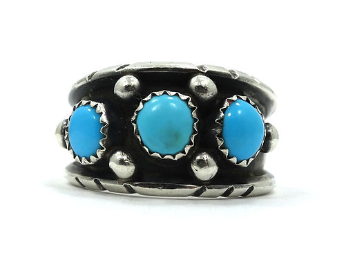 Vintage OLD PAWN Native American Navajo 3 Turquoise Sterling Silver Ring 8-1/4