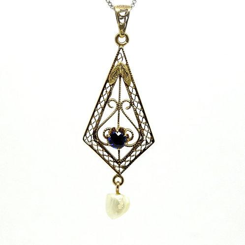 Petite Art Nouveau 10K Gold Pearl SAPPHIRE Lavalier Pendant