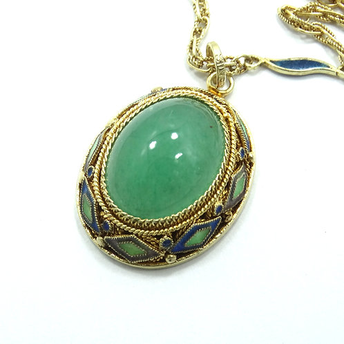 Antique CHINESE Export Green Agate Gold Gilt Silver Enamel Pendant Necklace