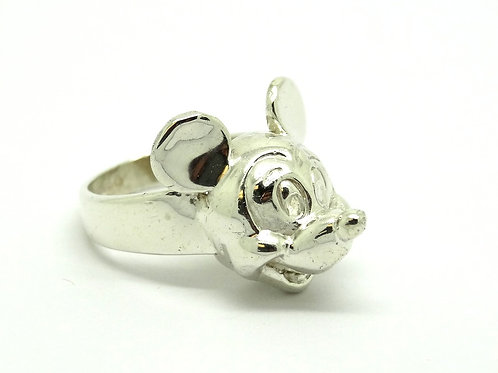 Vintage 3D MICKEY MOUSE Disney 925 Silver Ring
