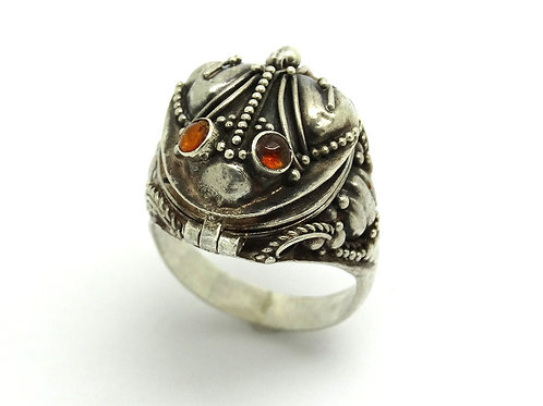 Vintage Poison FROG Amber Eyes 925 Silver Ring