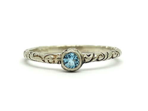 BASK London Blue Topaz 925 Silver Stack Ring