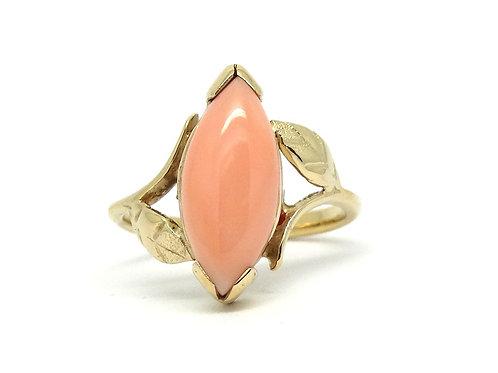 Vintage Pink Angelskin CORAL 14k Solid Gold Leaves Ring