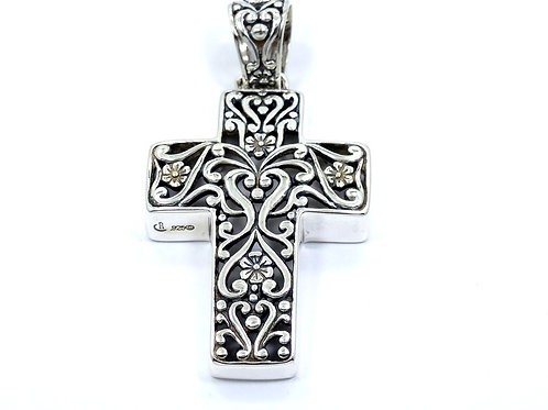 Carolyn Pollack RELIOS Floral Filigree Scroll 925 Sterling Silver Cross Pendant