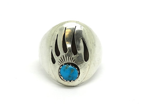 Men's Native American Turquoise Bear Claw Ring
