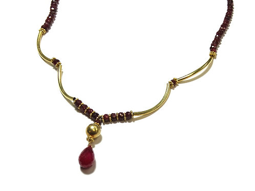 Gold Gilt Silver Faceted Natural RUBY Necklace