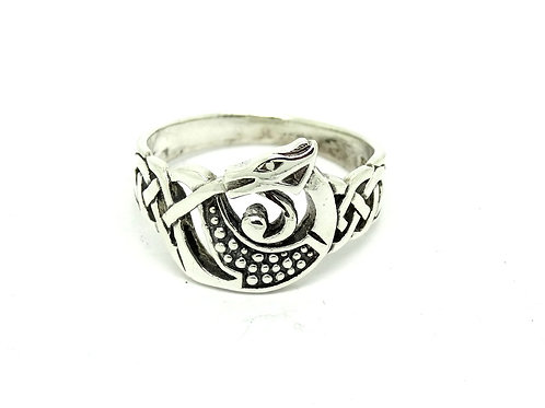 Sterling Silver Celtic Knot Dragon Monster Ring
