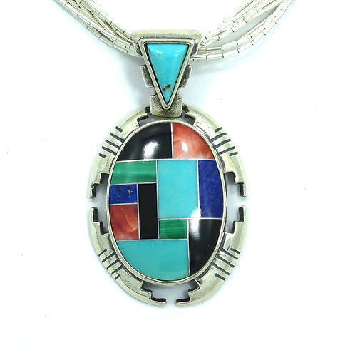 CAROLYN POLLACK Inlaid Turquoise Spiny Oyster Lapis Onyx Silver Pendant Necklace