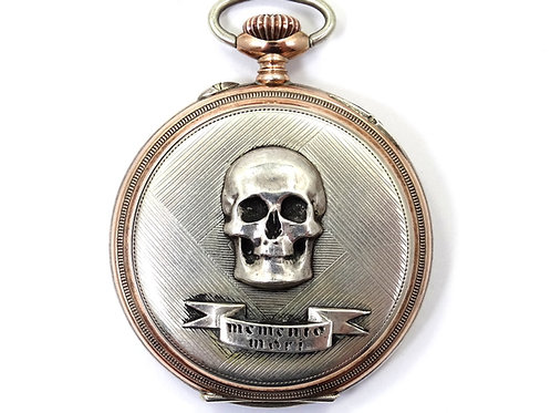 """Antique SILVANA German 800 Silver """"MEMENTO MORI"""" Cylinder 10 Steine Pocket Watch"""