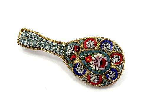 Cute Vintage Italy MICRO MOSAIC MANDOLIN Guitar Brooch Pin