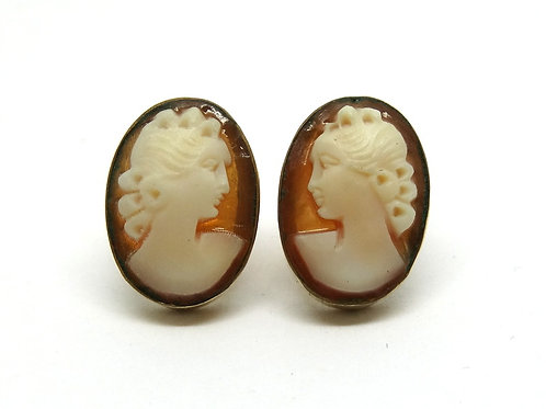 Antiquity Vintage GF V.D. Lady Cameo Stud Earrings