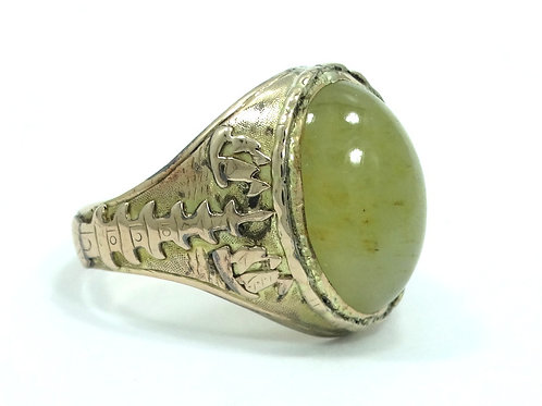 Antique Chinese Export CHRYSOBERYL CAT'S EYE 14k Yellow Gold JUNK BOAT Ring