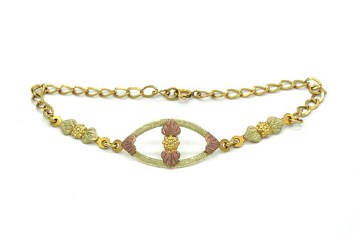 BLACK HILLS GOLD 10K Leaf Grapes & Gold Filled Curb Link Bracelet