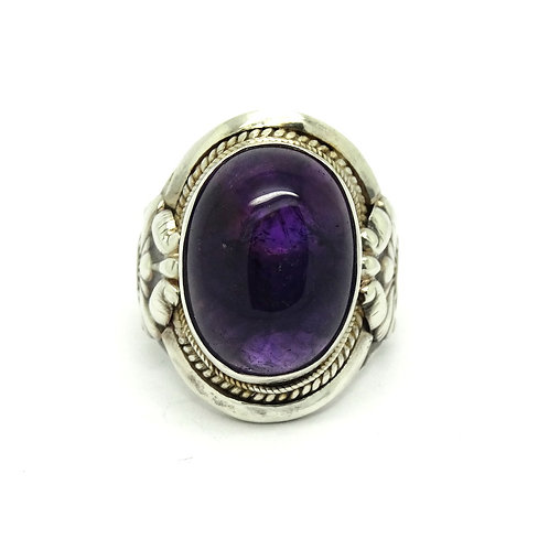 Huge Vintage Cab Amethyst Sterling Silver Ring