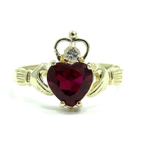 Beautiful IRISH CLADDAGH Red & White CZ 14k Gold Wedding Ring 6.75