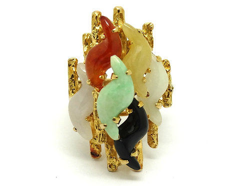Modernist Chinese MultiColor JADEITE 14k Gold Ring