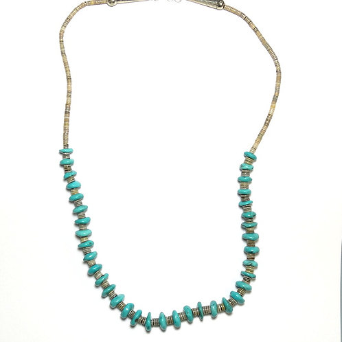 "Navajo Signed ""$"" Turquoise HEISHI Beads 925 Silver Necklace"