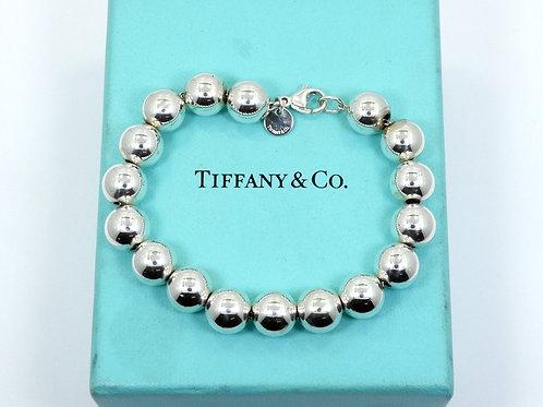 """Beautiful TIFFANY & CO 925 Sterling Silver 10mm BALL BEAD Bracelet 6-3/8"""""""