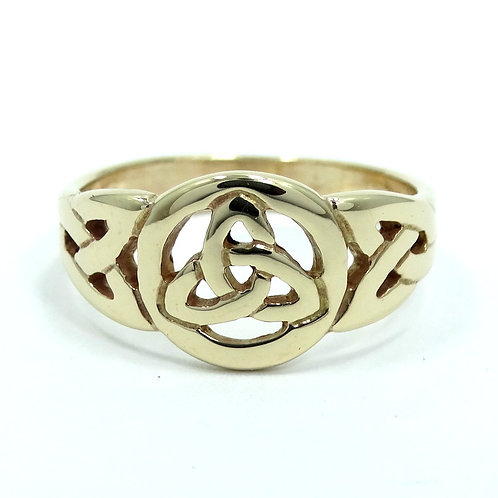 Mens IRISH TRINITY CELTIC KNOT TRIQUETRA Christian 14k Gold Ring 9.5