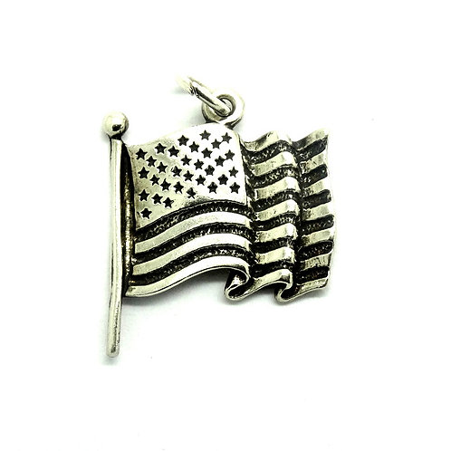 UNITED STATES OF AMERICA FLAG USA Banner 925 Silver Charm