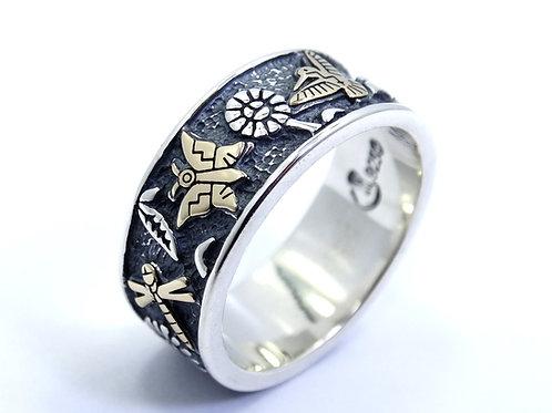 RMT TENORIO RELIOS Carolyn Pollack Butterfly Hummingbird Gold Silver Ring Band 8