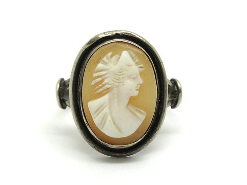 Vintage Genuine Carved CAMEO Sterling Silver Ring