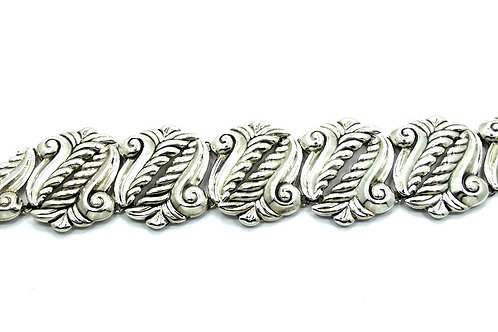 Vintage Mexico TAXCO 4 Sterling Silver PUFFY Lorien Leaf Link Bracelet