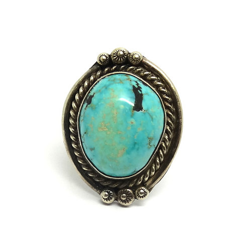 NAVAJO Oval Chunky Turquoise Silver Ring s-6.75