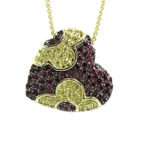 TNT Italy 14k Flower HEART Red Spinel Yellow Sapphire Pendant Necklace