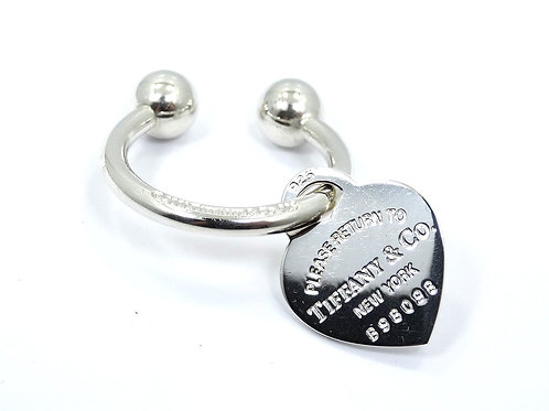 Please Return TIFFANY & CO 925 HEART Tag Sterling Silver KEY Chain Ring Holder